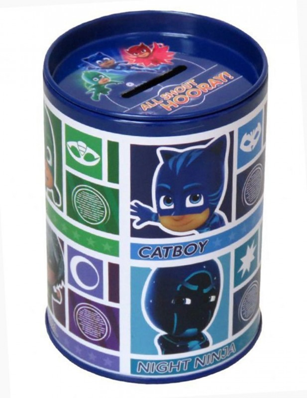 Kovová pokladnička modrá PJ Masks Greg / Connor / Amaya 11 x 7 cm