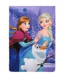 Fleecová deka fialová Frozen Anna / Elsa / Olaf velikost 150 x 100 cm