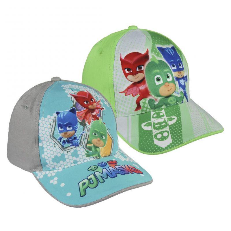 Chlapecká kšiltovka s hrdiny PJ Masks Greg / Amaya / Connor šedá / zelená  vel. 53 cm