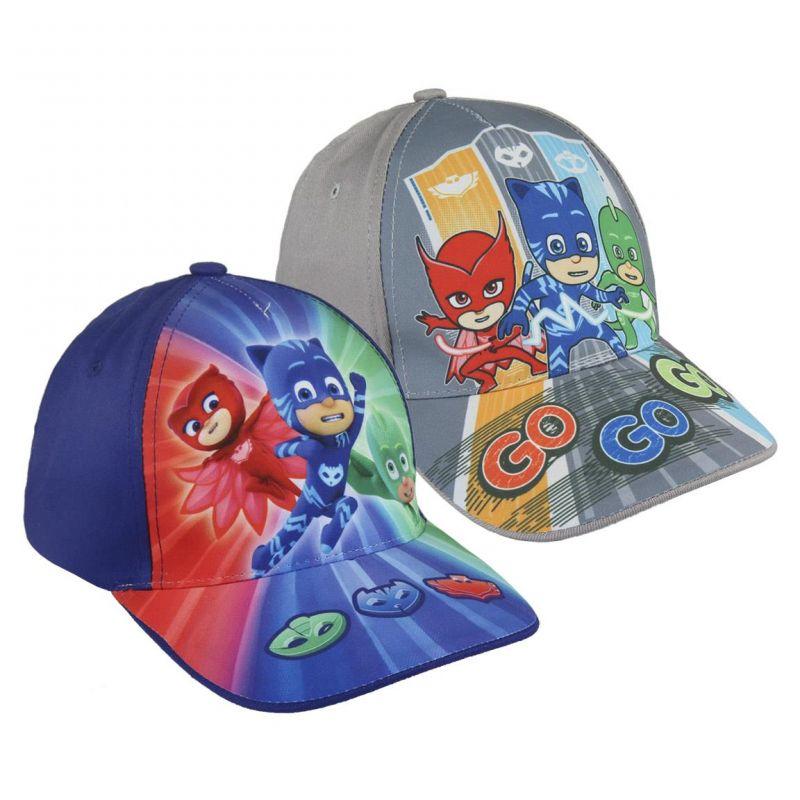 Chlapecká kšiltovka s hrdiny PJ Masks Greg / Amaya / Connor modrá / šedá velikost 53 cm