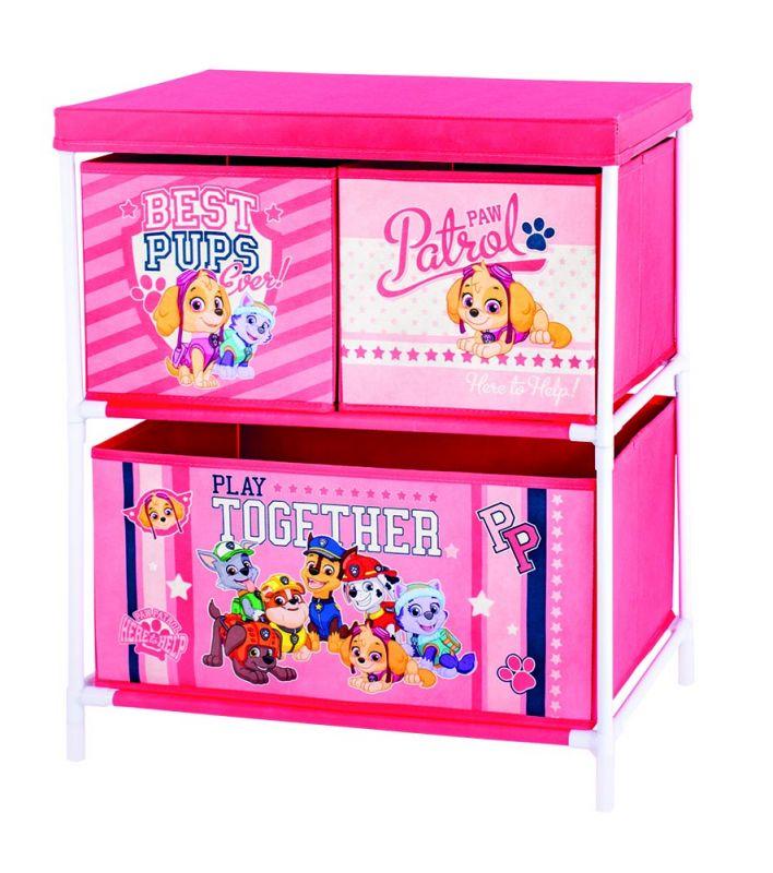 Úložný stojan s boxy na hračky Paw Patrol / Tlapková Patrola Skye a Everest 53 x 30 x 60 cm