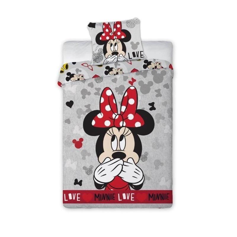 Povlečení s Myškou Minnie / Minnie Mouse šedé Love 70 x 90 cm a 140 x 200 cm