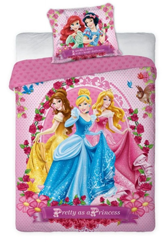 Dívčí povlečení Princezny / Princess růžové 70 x 80 cm a 160 x 200 cm