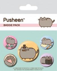 Sada 5 ks připínacích odznáčků s kočičkou Pusheen