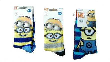 Dětské pruhované ponožky Mimoni žluté / šedé / modré / vecizfilmu
