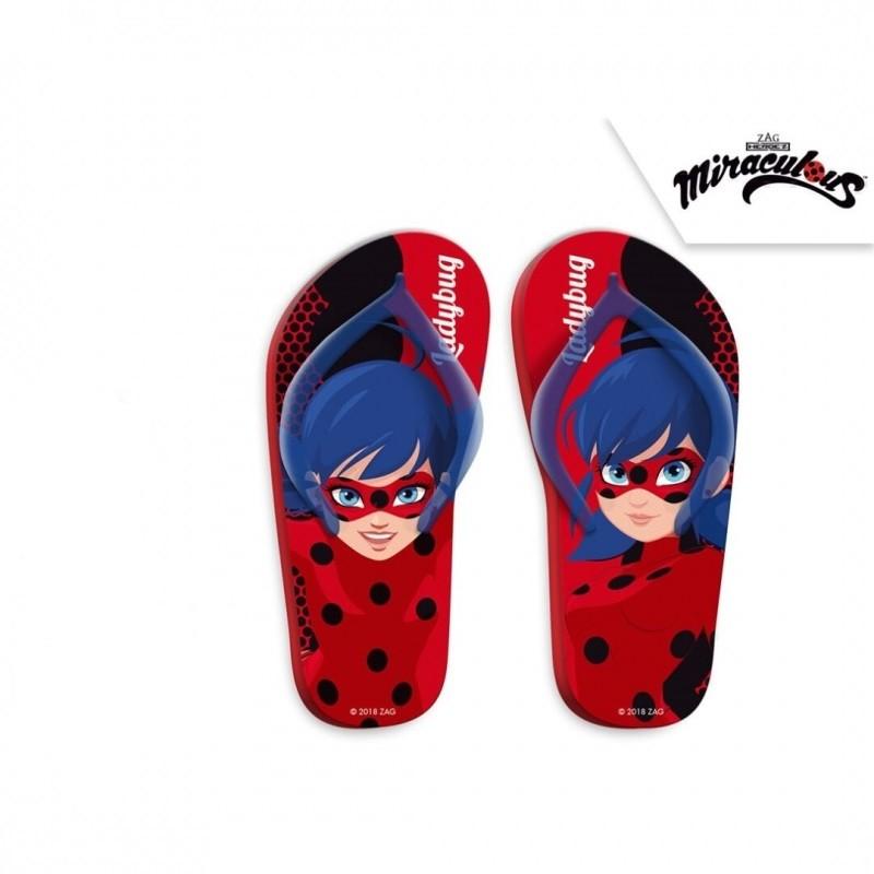 Letní dívčí žabky červené Zázračná Beruška / Miraculous Ladybug velikost 27 -  34 / vecizfilmu