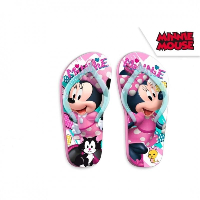 Letní dívčí žabky modro - růžové Myška Minnie / Minnie Mouse velikost 27 - 34 / vecizfilmu