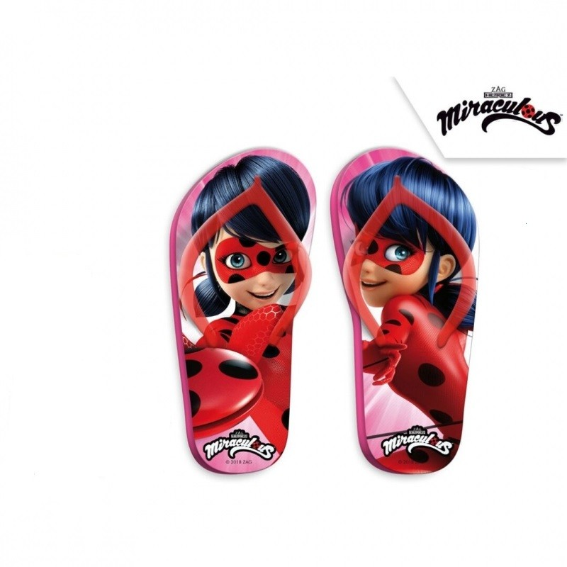 Letní dívčí žabky růžové Zázračná Beruška / Miraculous Ladybug velikost 27 - 34 / vecizfilmu