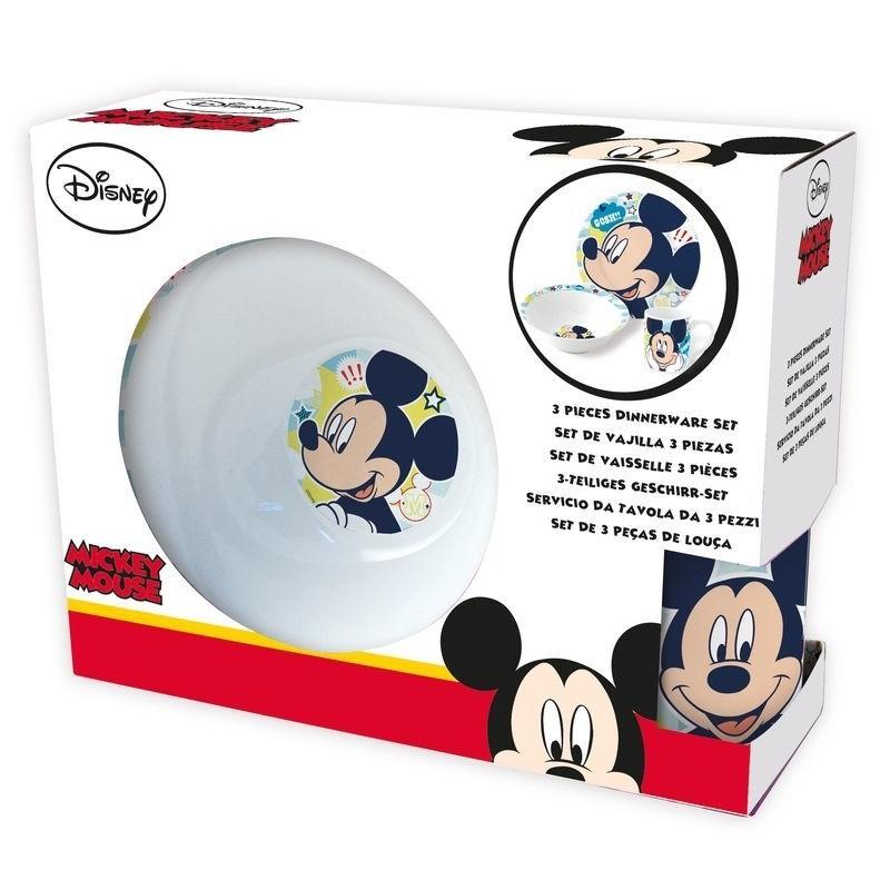 Keramická jídelní sada Mickey Mouse / 3 kusy v balení