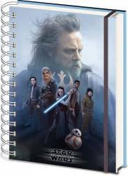 Spirálový 3D notýsek s gumou A5 Star Wars The Last Jedi