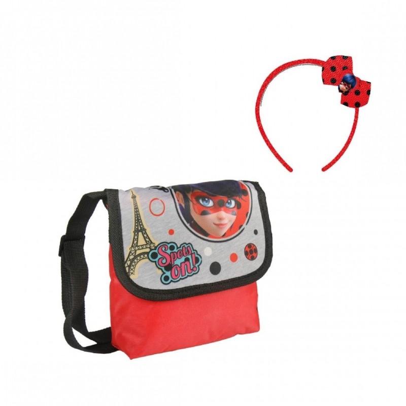 Taška na jedno rameno + čelenka Miraculous Ladybug / Zázračná beruška / 13 x 16 x 4 cm / veci z filmu
