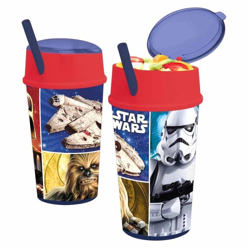 Cestovní svačinový pohárek / kelímek s brčkem a Star Wars 400 ml