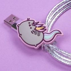 USB kabel a mikro USB s línou kočičkou Pusheen Zelená / vecizfilmu