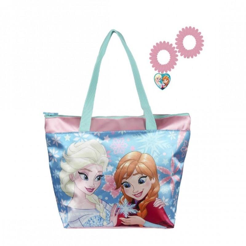 Plážová taška + gumičky do vlasů Frozen / Ledové Království / 27,5 x  21 x 9 cm / modrá / veci z filmu