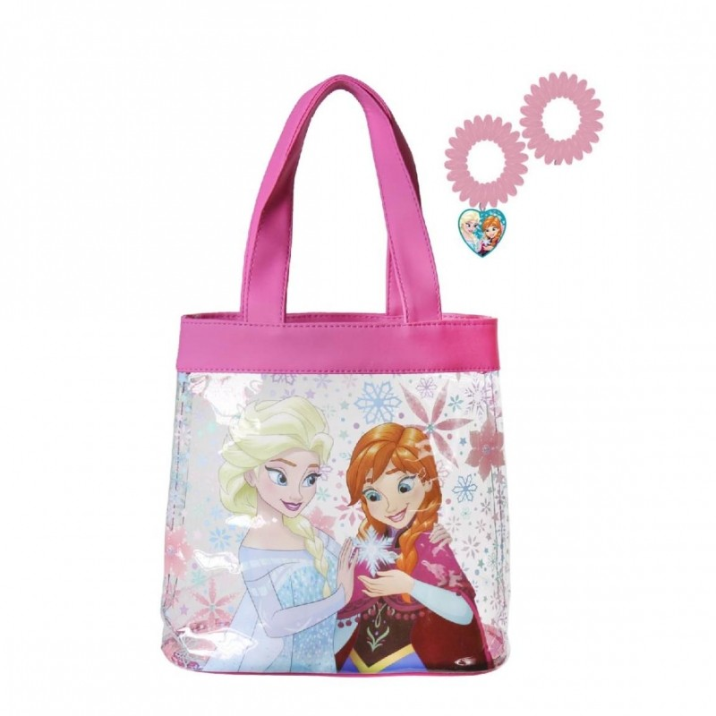 Plážová taška Frozen + gumičky do vlasů / 21 x 22 x 8 cm / růžová