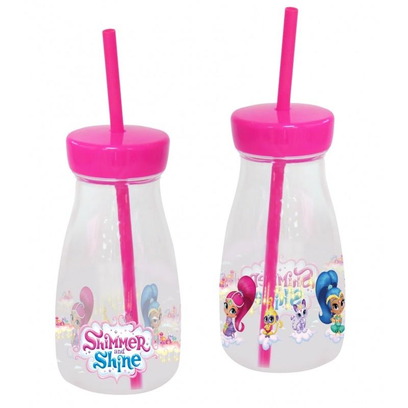 Plastová láhev s brčkem / Shimmer and Shine / 370 ml