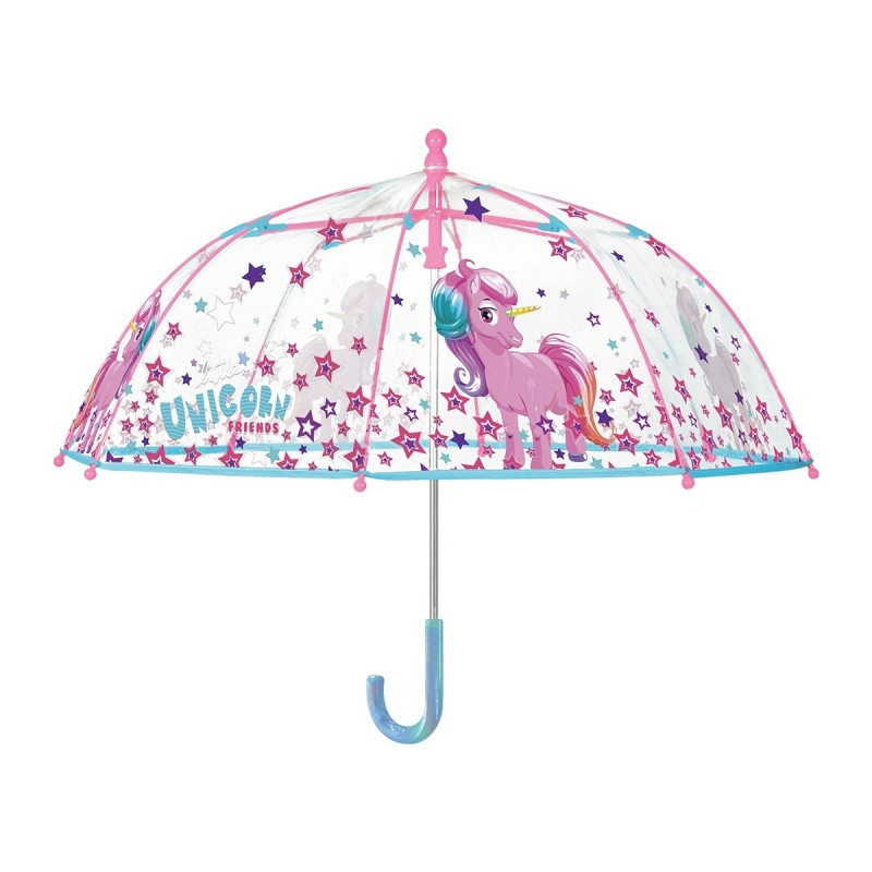 Dívčí průhledný manuální deštník Jednorožec / Unicorn / 42 cm