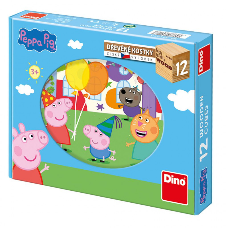 Dřevěné kostky Prasátko Pepa / Peppa Pig / 12 kostek / veci z filmu