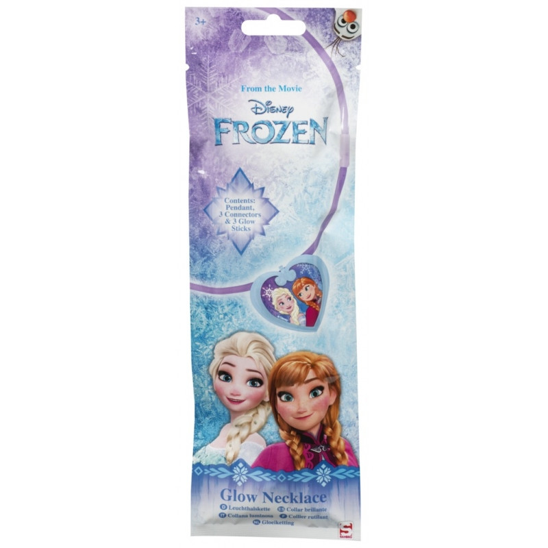 Svítící plastový náhrdelník se srdíčkem Anna a Elsa Frozen / Ledové Království