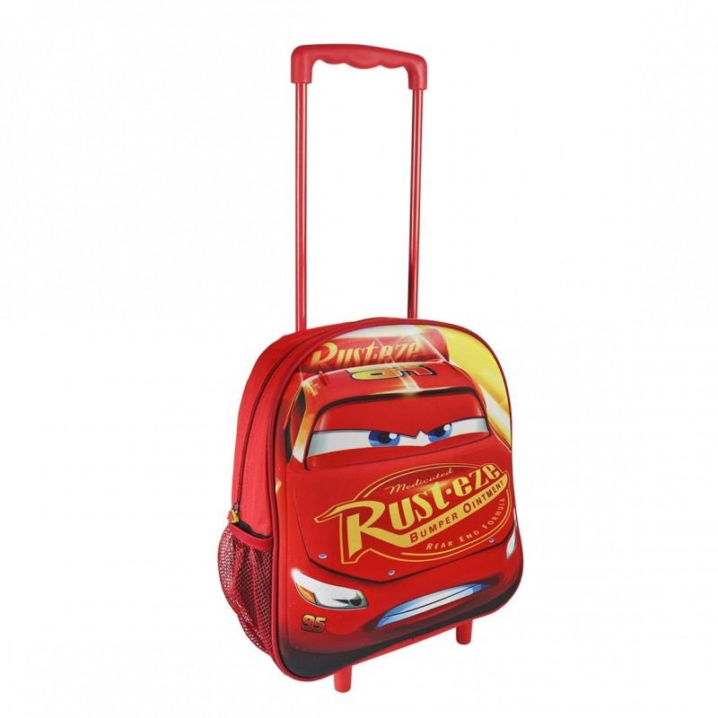 Chlapecký 3D batoh na kolečkách s rukojetí Blesk McQueen / Cars / Auta 25 x 31 x 10 cm