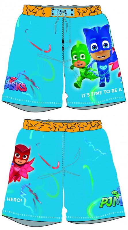 Chlapecké letní plavecké šortky PJ Masks Greg / Amaya / Connor světle modré