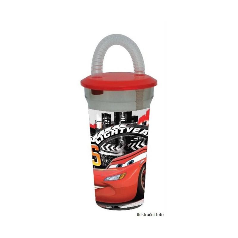 Plastový kelímek s brčkem Blesk McQueen Cars / Auta 400 ml / vecizfilmu