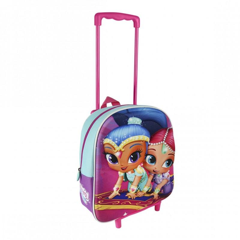 Dívčí 3D batoh na kolečkách s rukojetí Shimmer and Shine / Lesk a třpyt rozměr 25 x 31 x 10 cm