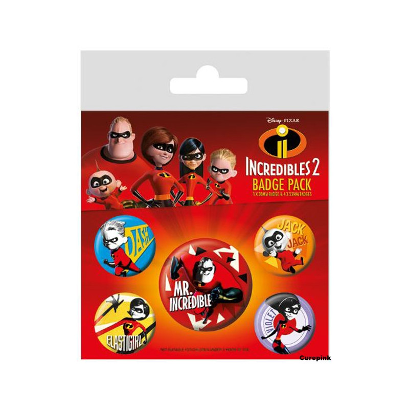 Odznaky / Placky / Incredibles2 / Úžasňákovi 2 / 5 ks