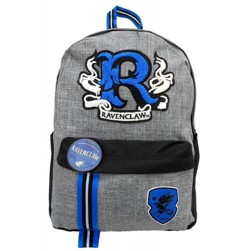 Školní batoh s odznakem Harry Potter / Ravenclaw / šedý 44 x 14 x 42 cm
