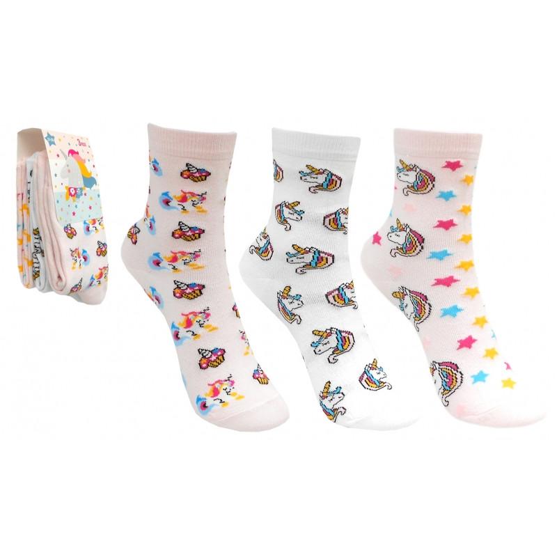 Dívčí ponožky Jednorožec / Unicorns / 3 páry v balení /  velikost: 27/30