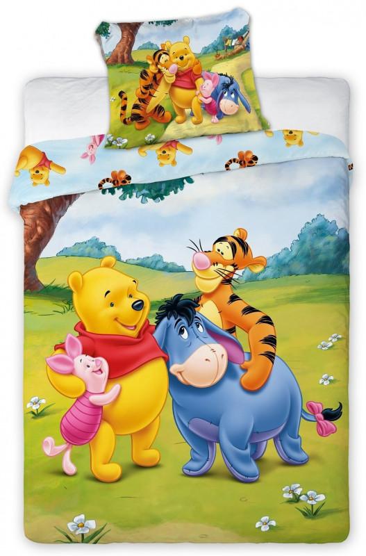 Bavlněné povlečení do dětské postýlky s Medvídkem Pú a jeho kamarády 100 x 135 cm a 40 x 60 cm