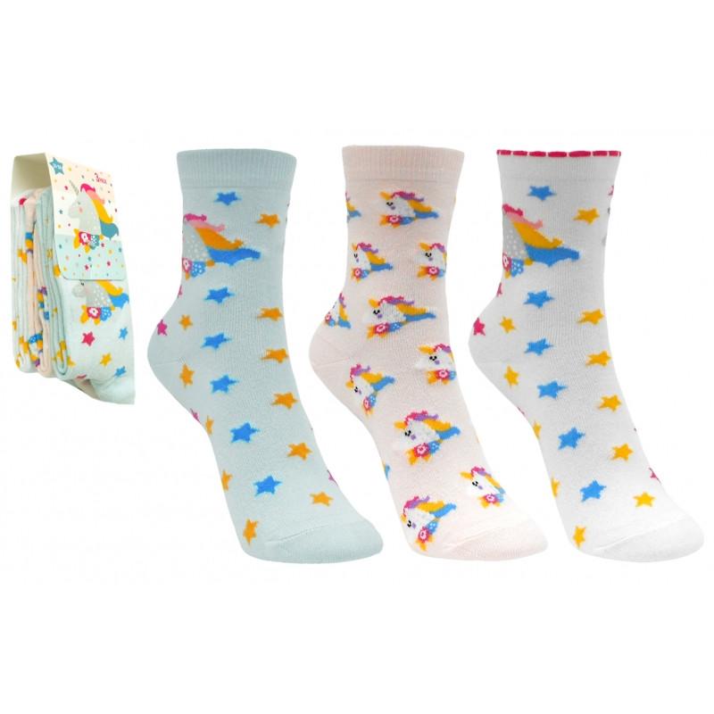 Dívčí ponožky Jenorožec / Unicorns / 3 páry v balení /  velikost: 23/26