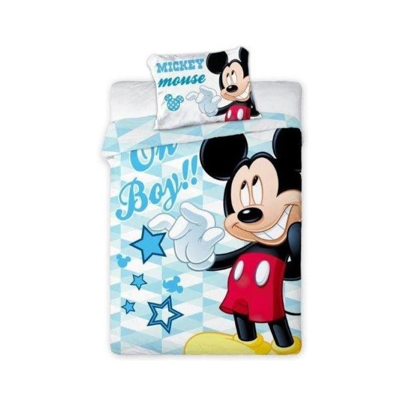 Bavlněné povlečení do dětské postýlky s Myšákem Mickey / Mickey Mouse 100 x 135 cm a 40 x 60 cm