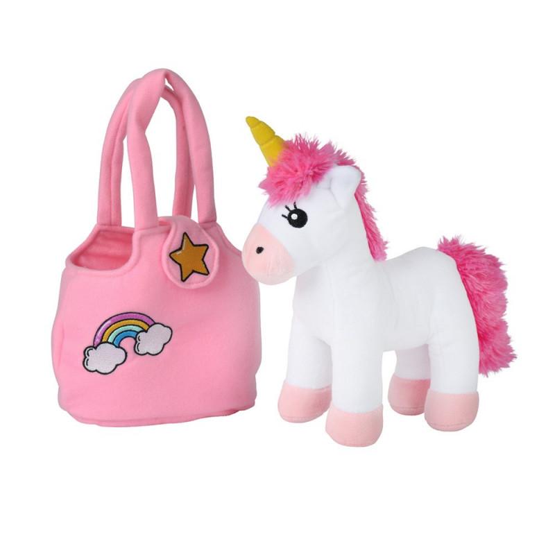 Plyšový jednorožec v kabelce / Unicorn / 18 × 28 × 10 cm
