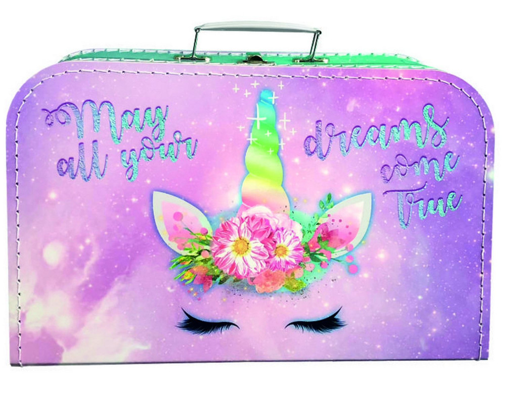 Lepenkový kufr Jednorožec / Unicorn / 35 x 23 cm