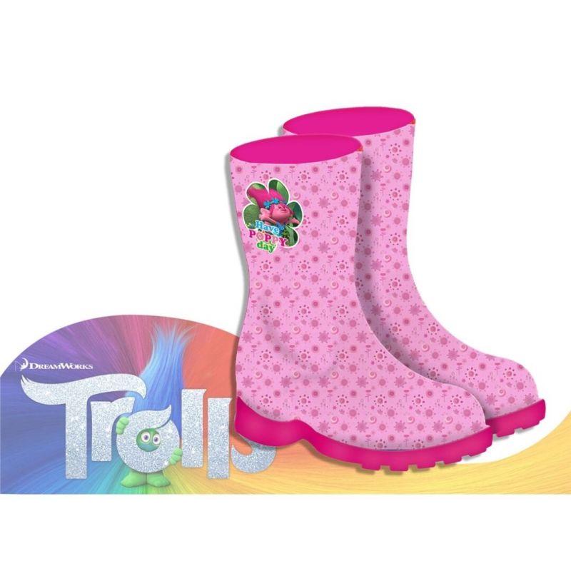 Dívčí růžové gumáky s Poppy Trollové / Trolls velikost 24 / 25