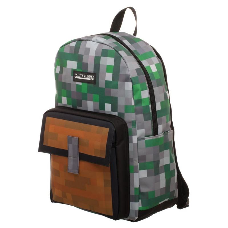Batoh Minecraft / hnědá kapsa / 44 x 34 x 14 cm