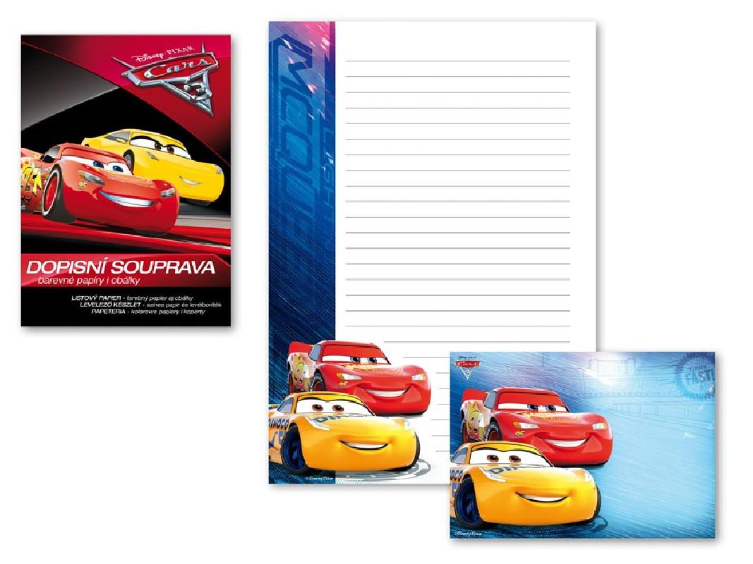 Dopisní papír barevný Auta / Cars / A4