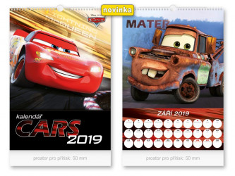 Nástěnný kalendář 2019 Auta / Cars / 32 x 45 cm / Black Friday