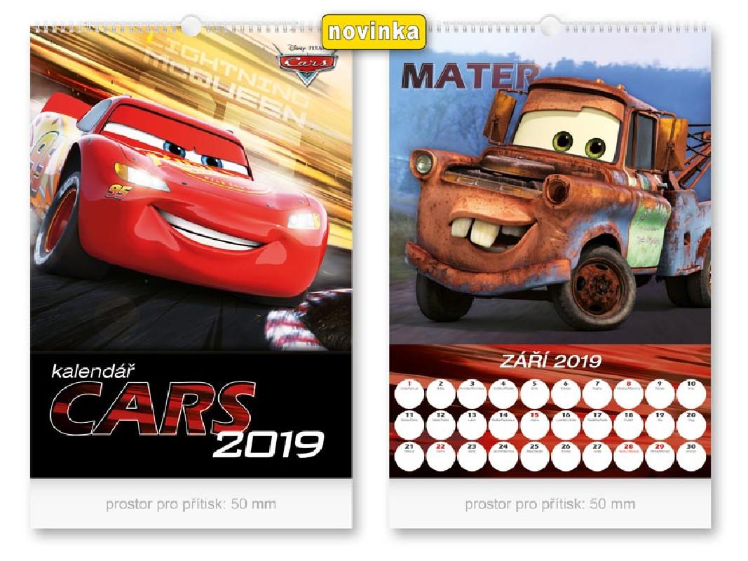 Nástěnný kalendář 2019 Auta / Cars / 32 x 45 cm