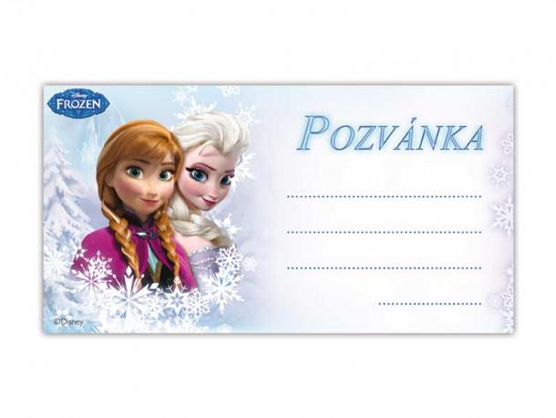 Pozvánka modrá Frozen  / 19 X 10 CM / 10KS / veci z filmu