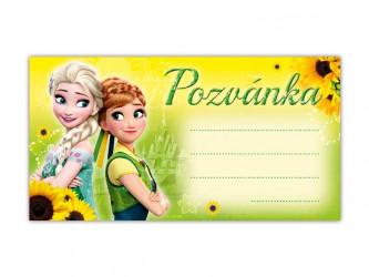 Pozvánka žlutá Frozen  / 19 X 10 CM / 10KS