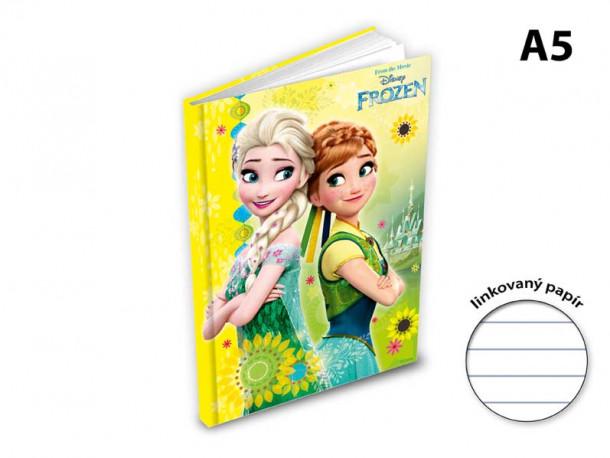 Blok / notes Frozen / A5 linka / žlutý / veci z filmu