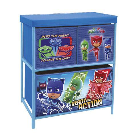 Úložný stojan s boxy na hračky PJ Masks / Pyžamasky 53 x 30 x 60 cm
