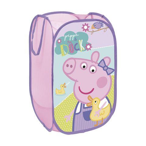 Skládací koš na hračky růžový Prasátko Peppa / Peppa Pig / 36 x 36 x 58 cm