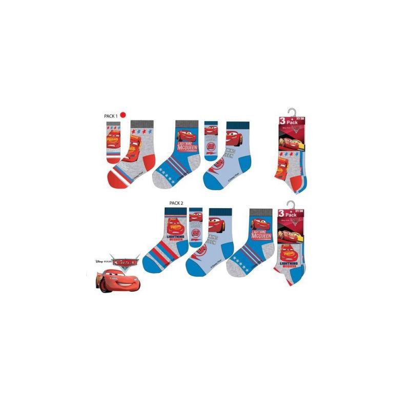 Sada 3 párů chlapeckých ponožek se závoďákem Bleskem McQueenem Cars / Auta