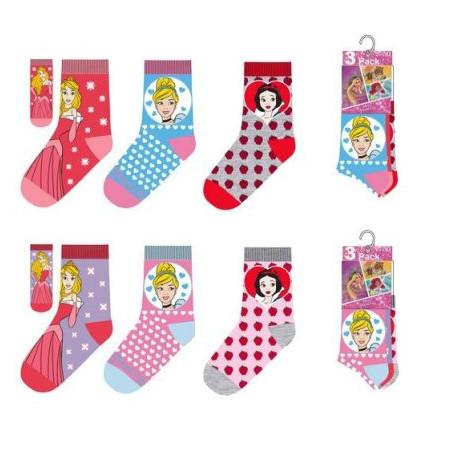 Sada 3 párů dívčích ponožek Princezny / Princess / vecizfilmu