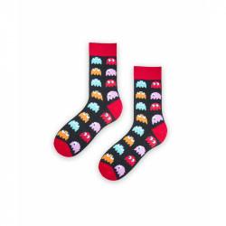 Pánské ponožky černo - červené Pac-Man velikost 39 / 42 / vecizfilmu