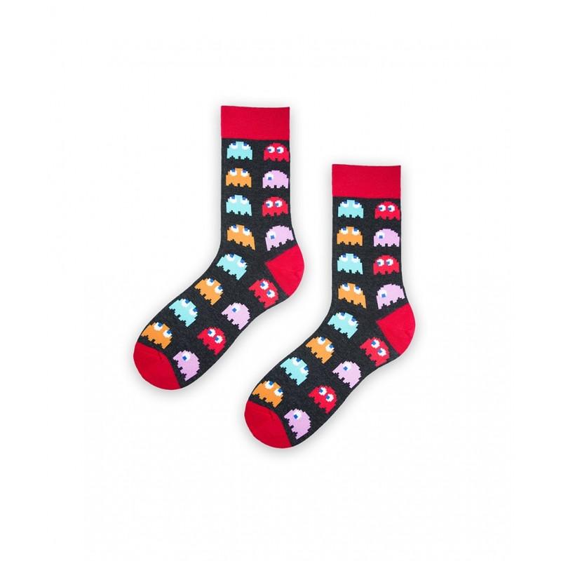 Pánské ponožky černo - červené Pac-Man velikost 43 / 46
