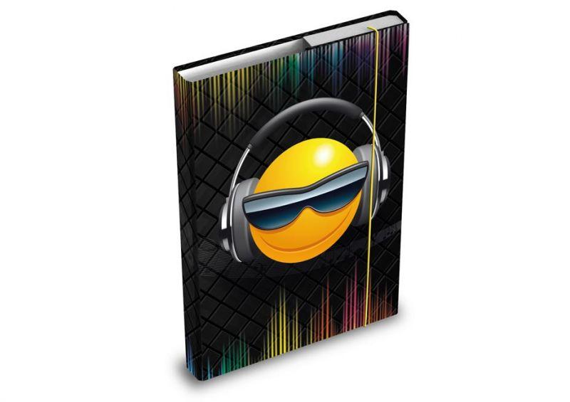 Desky / box na sešity A4 Smile / Smajlíci sluchátka